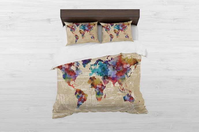 Watercolor Map Bedding