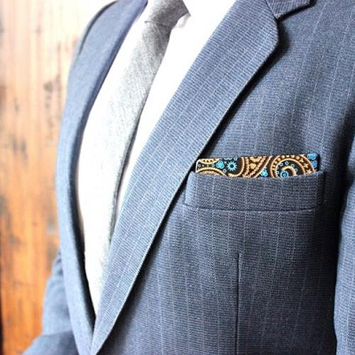 Wooden Pocket Square | Engraved Paisley | Royal Blue
