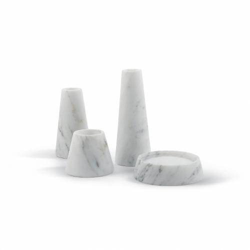 Tellus Candle Holders   Carrara Marble