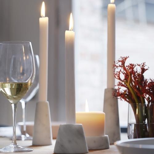 Candle Holder-Tellus Candle Holders Carrara Marble   Atipico