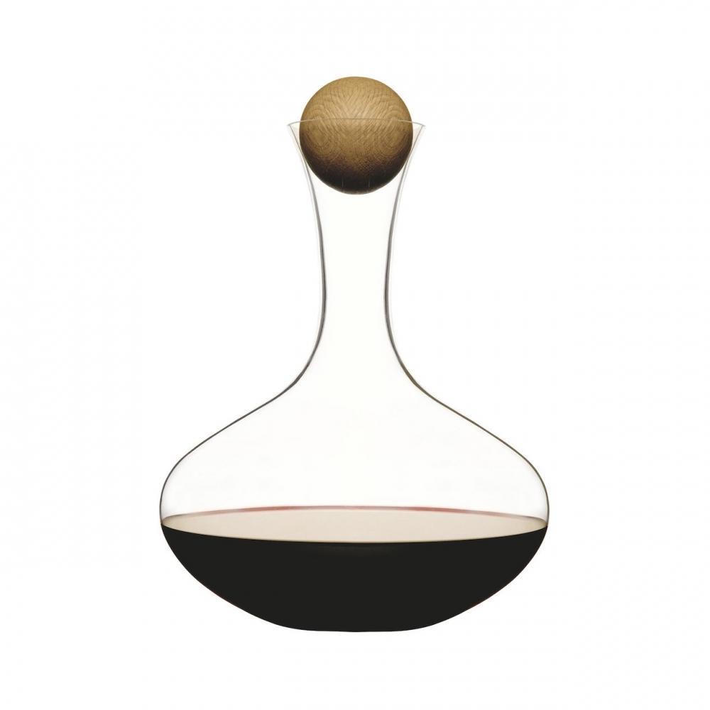 Red Wine Carafe | Hand-blown Glass | Oak Stopper | Sagaform