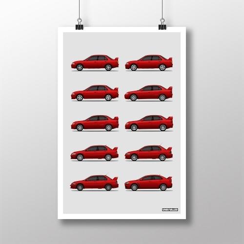 Mitsubishi Lancer Evolution Generations Print