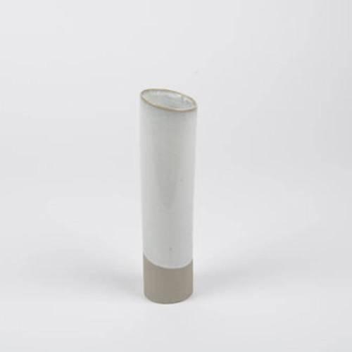 Slant Vase, Taupe - Classy Ceramic Vase