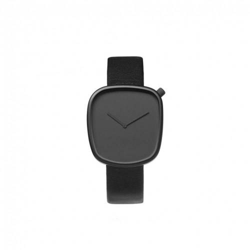 Pebble 01- Black Leather Watch