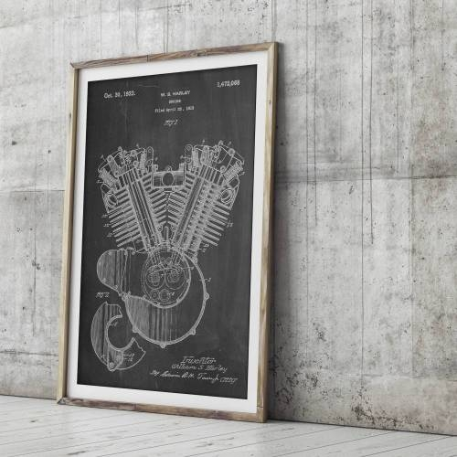 Harley Motorcycle Engine Patent Print