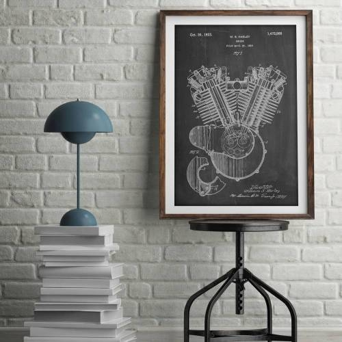 Harley Motorcycle Engine Patent Print - Patent Prints
