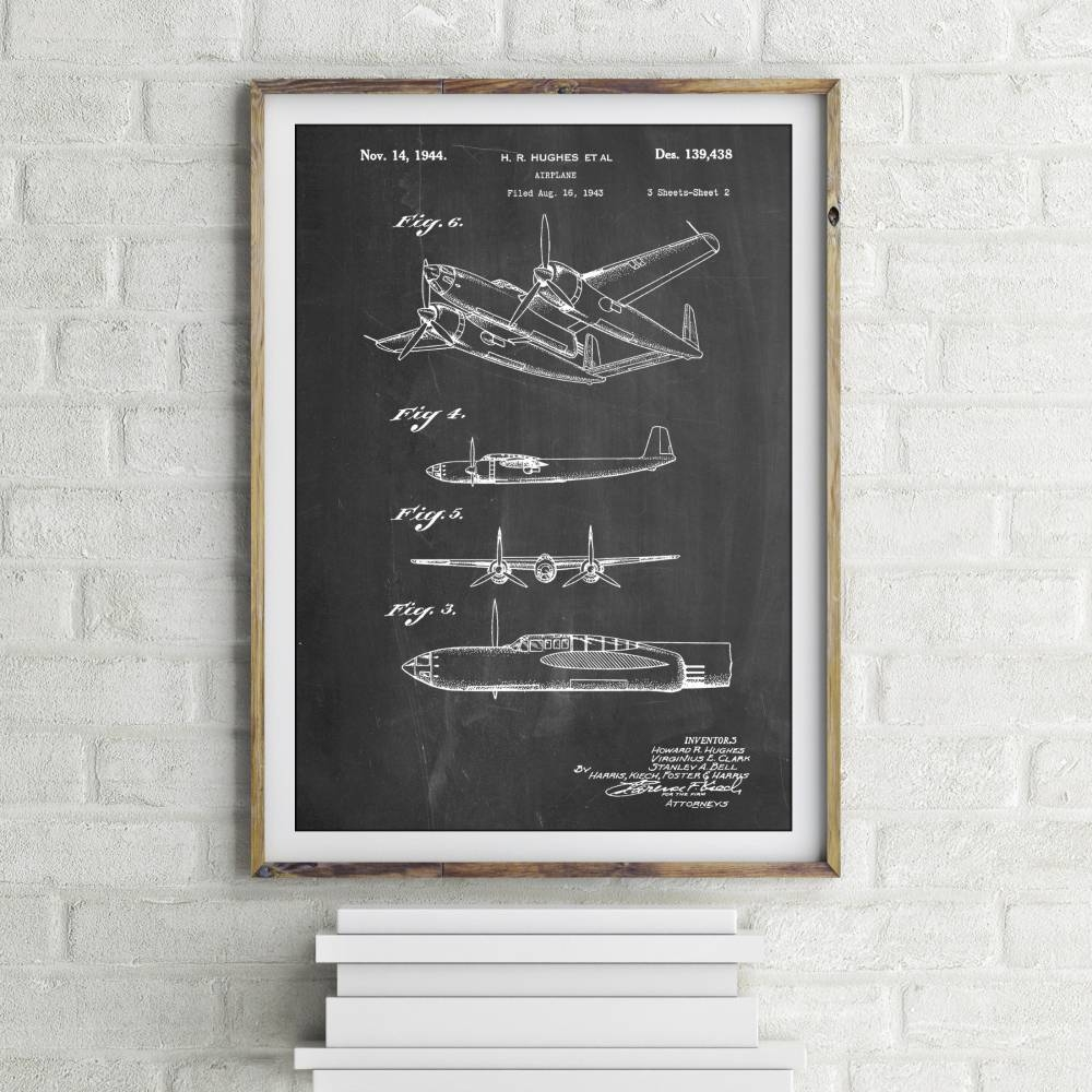Howard Hughes Airplane Patent Print - Patent Prints
