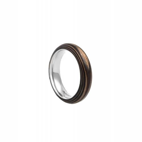 Duo Slim Ebony + Walnut Ring