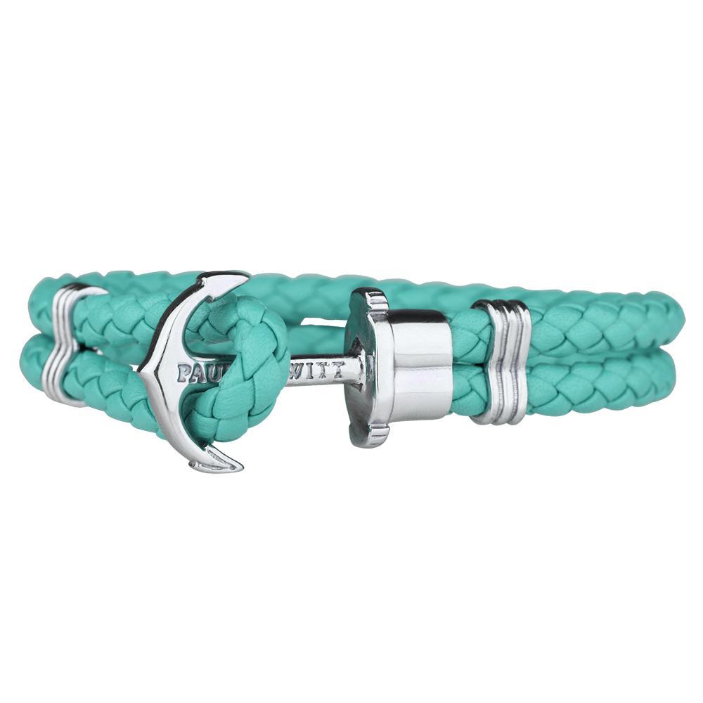 PHREP Leather Bracelet, Turquoise/Silver - Paul Hewitt