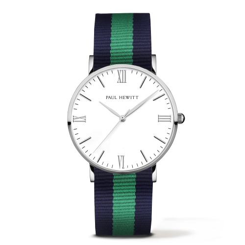 Silver Line Watch, Navy/Green