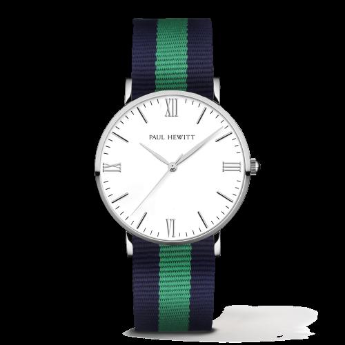 Silver Line Watch, Navy/Green