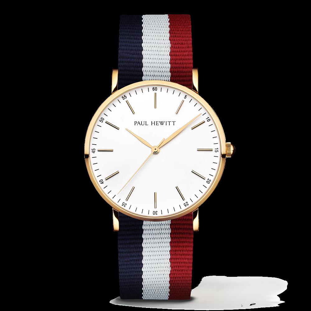 Gold Line Watch, Navy/White/Red - Paul Hewitt