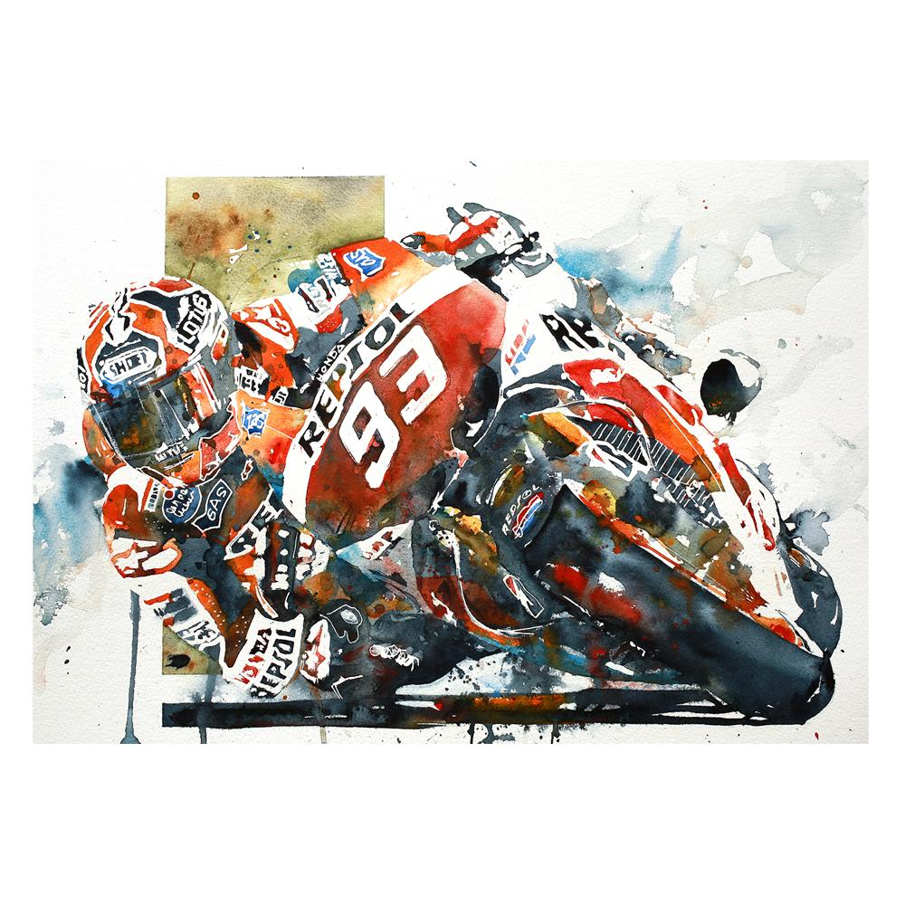 Marc Marquez MotoGP Watercolor Print | Honda | By Bilbeisi