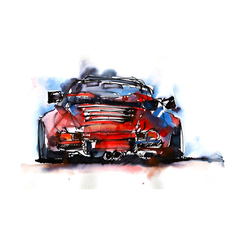 Porsche 911 Carrera Cabriolet Watercolor Print | By Bilbeisi