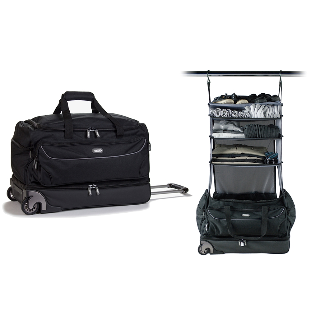 Roller Duffle Bag with Collapsible Shelves   GREY