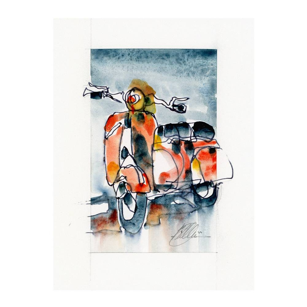 Vespa Scooter Watercolor Print   By The Artist Bilbeisi