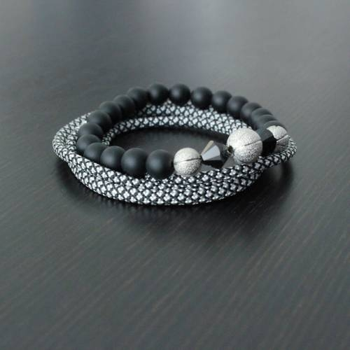 Vallour Bracelet Black and Silver Diamond Set