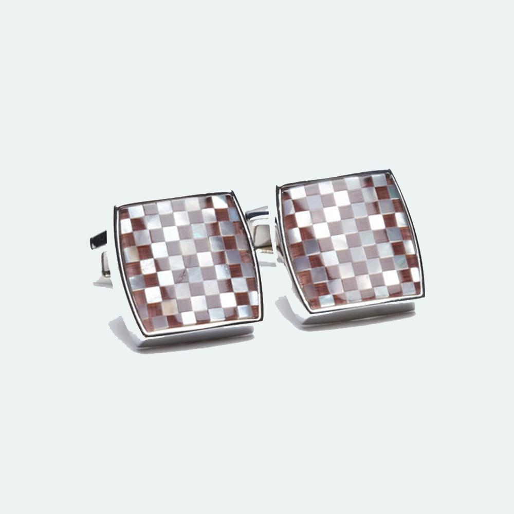 Men's Mosaic Maroon & White Cufflink