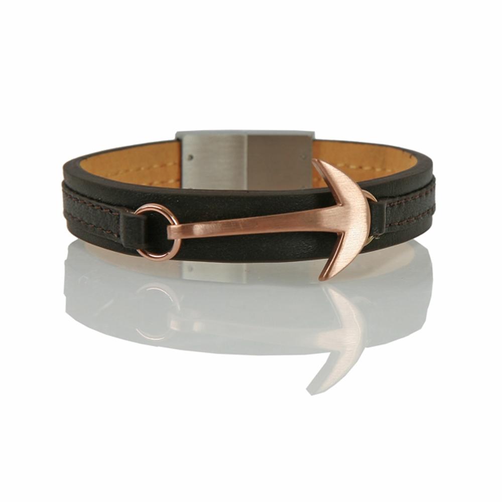 Dark Brown and Rose Hook Leather Cord Bracelet - Buttigo