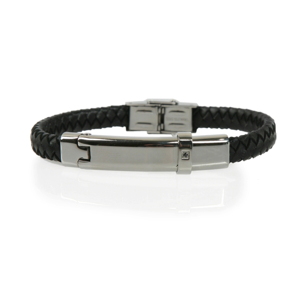 Black and Silver Milas Woven Leather Bracelet - Buttigo