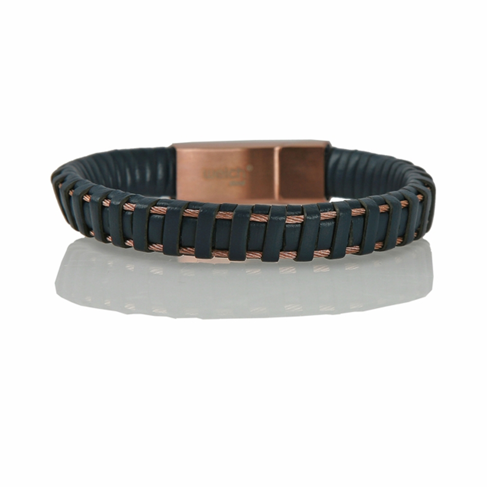 Navy and Rose Fatsa Braided Leather Cord Bracelet - Buttigo