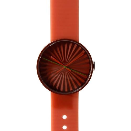 Orange Plicate Watch with 3D Dial