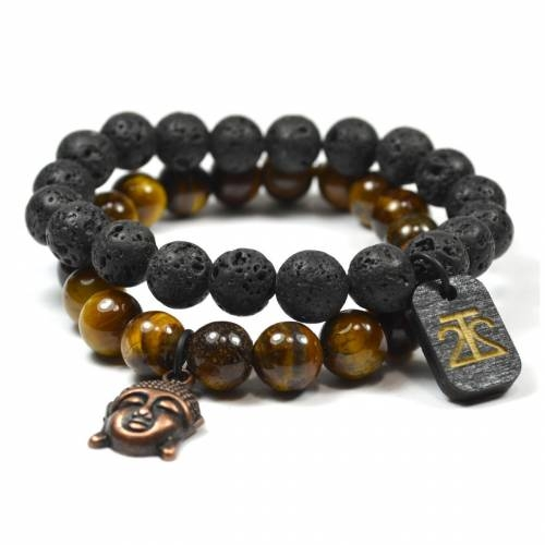 Tiger Eye & Lava Rock Set