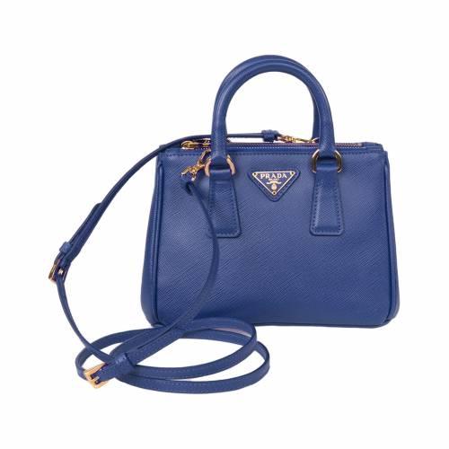 Mini Blue Saffiano Leather Tote