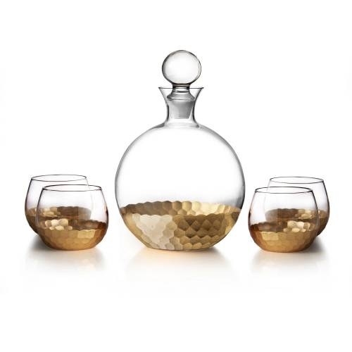 Daphne Gold Decanter | Set of 5