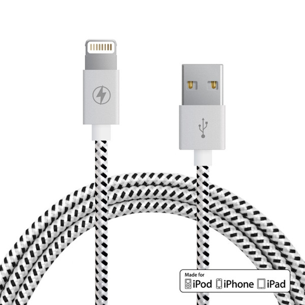 Black & White Lightning Cable | Charge Cords