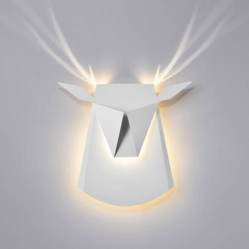 Aluminum Deer Head LED Light Fixture | Electricity Hardwire