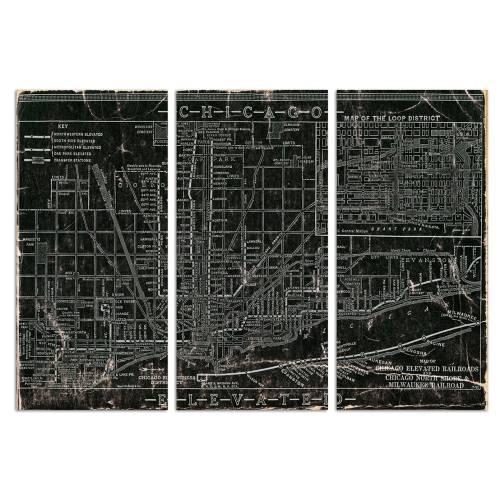 Chicago Railroad Triptych | Canvas Art