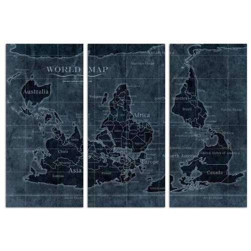 Upside-down Map of the World Noir Triptych   Canvas Art