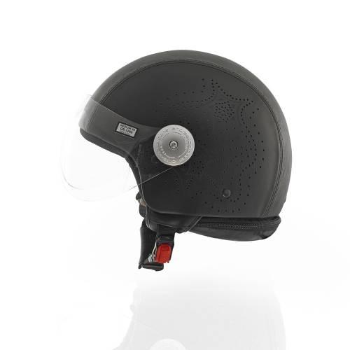 Laser Cut Leather Helmet   Black