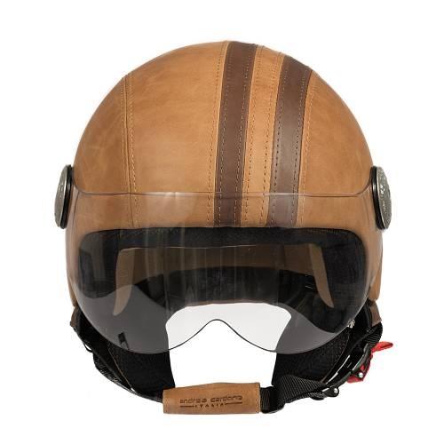 Leather Helmet   Brown Vintage Band