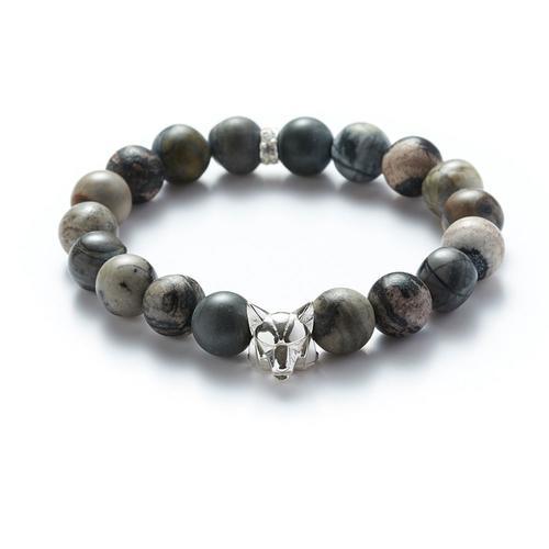 Jasper | Silver Wolf Bracelet
