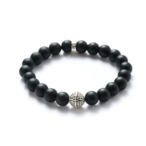 Onyx| Silver Ball Bracelet