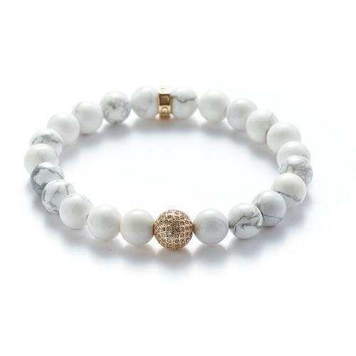 Howlite | Gold Ball Bracelet
