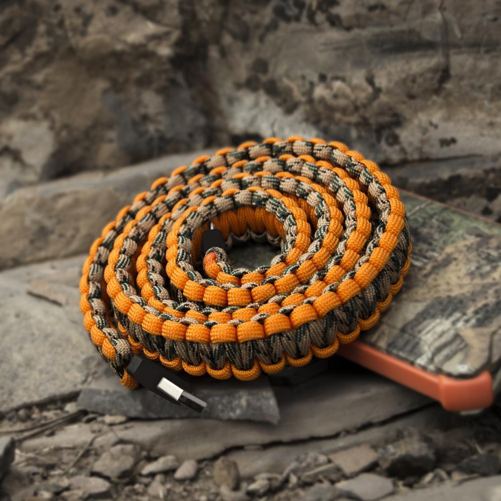 Paracord Charging Cable   Orange   Dark Energy