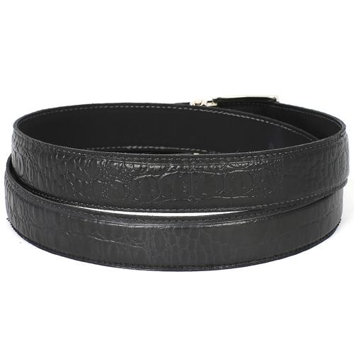 Men's Crocodile Embossed Calfskin Leather Belt | Black
