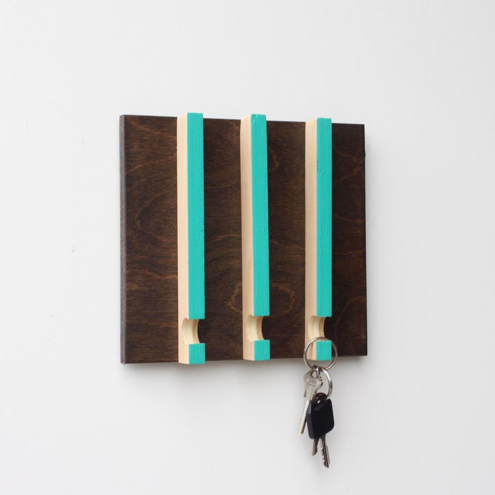 Linear Modern Key Rack | 3 Hooks | Wood Butcher Designs
