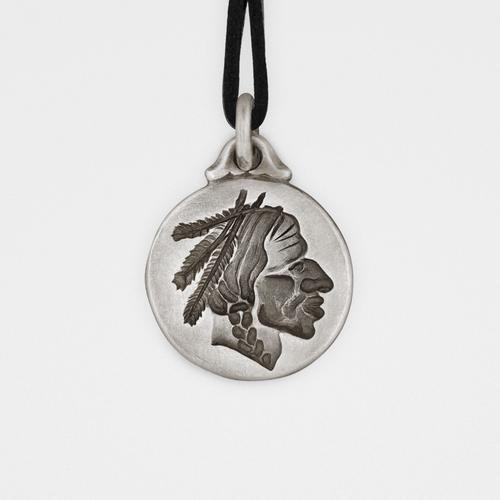 Chief Pendant   Sterling Silver & Leather