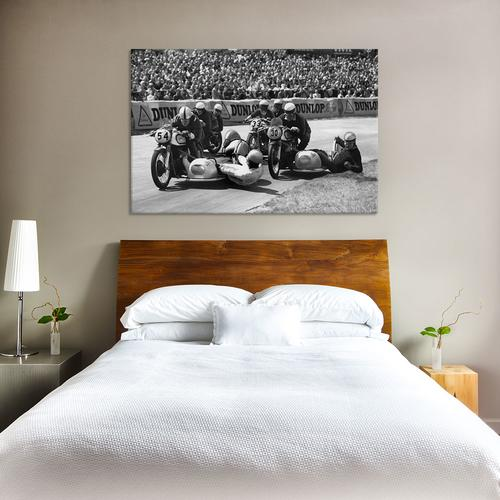 Motorcycle With Side Car Race Spill by Retro Images Archive