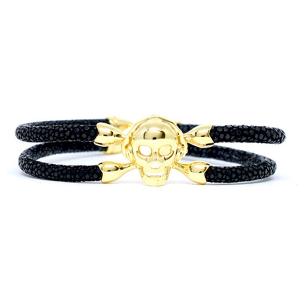 Skull Bracelet | Black with Gold Skull | Double Bone
