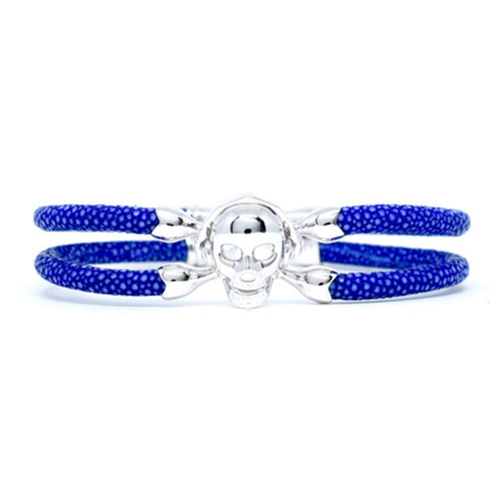 Skull Bracelet   Blue with Silver Skull   Double Bone