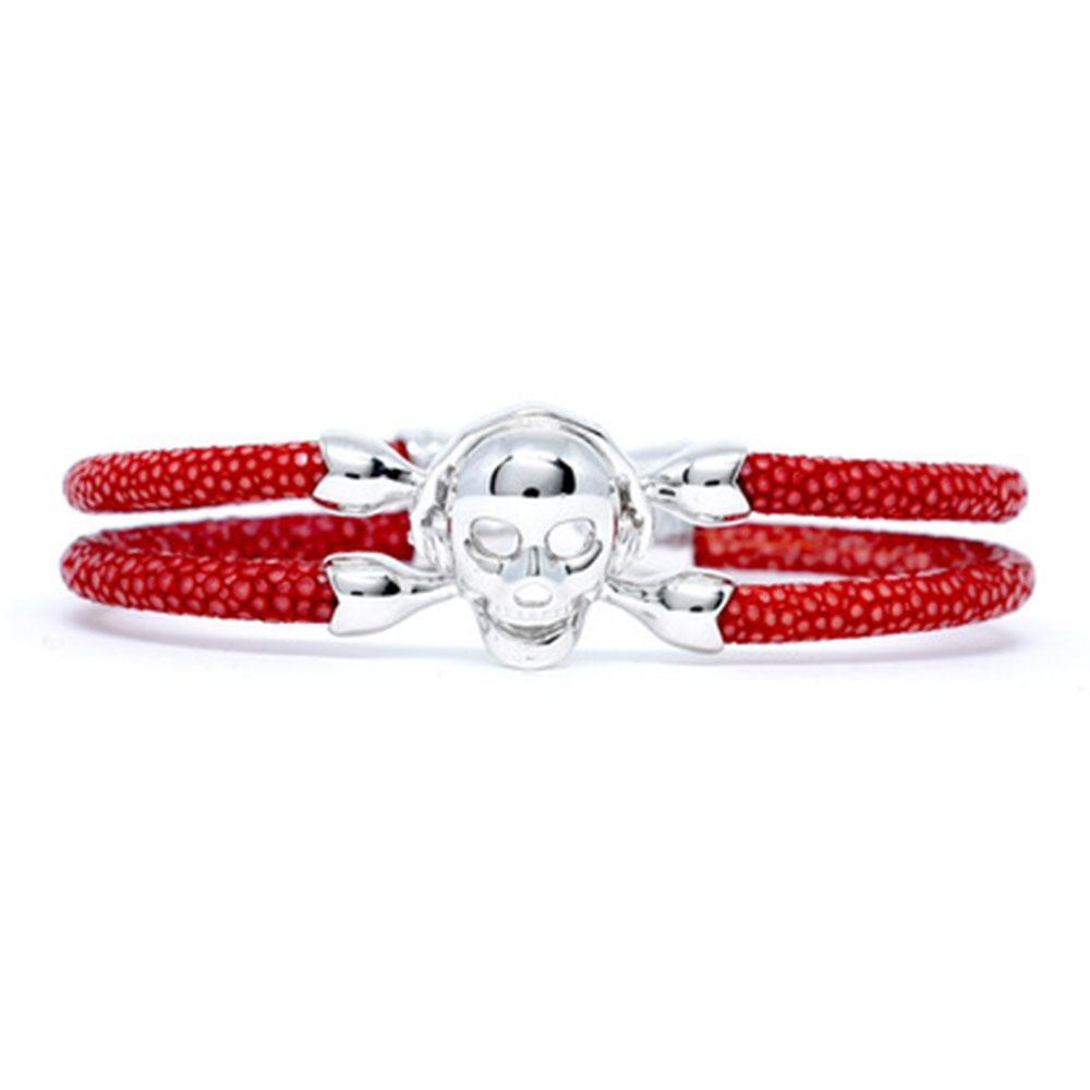 Skull Bracelet   Red with Silver Skull   Double Bone