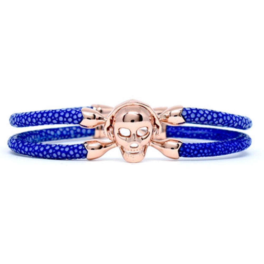 Skull Bracelet | Blue with Rose Gold Skull | Double Bone
