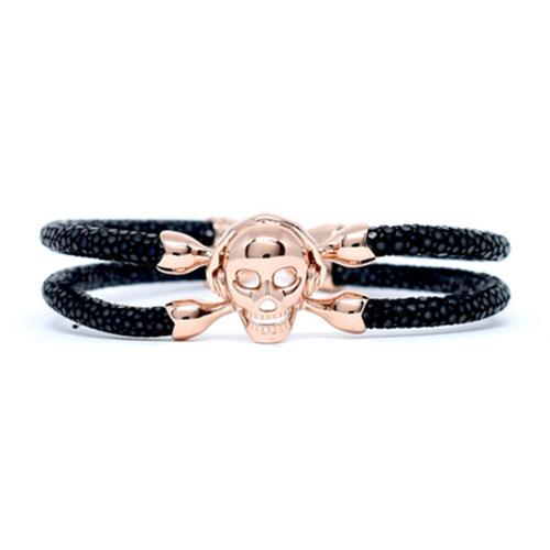 Bracelet | Single Skull | Black/Rose Gold
