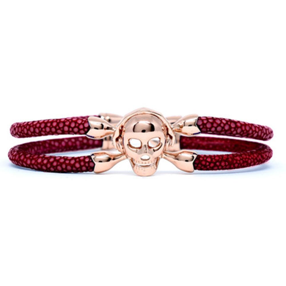 Skull Bracelet | Red Wine with Rose Gold Skull | Double Bone