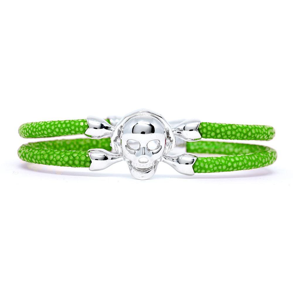 Skull Bracelet   Green with Silver Skull   Double Bone